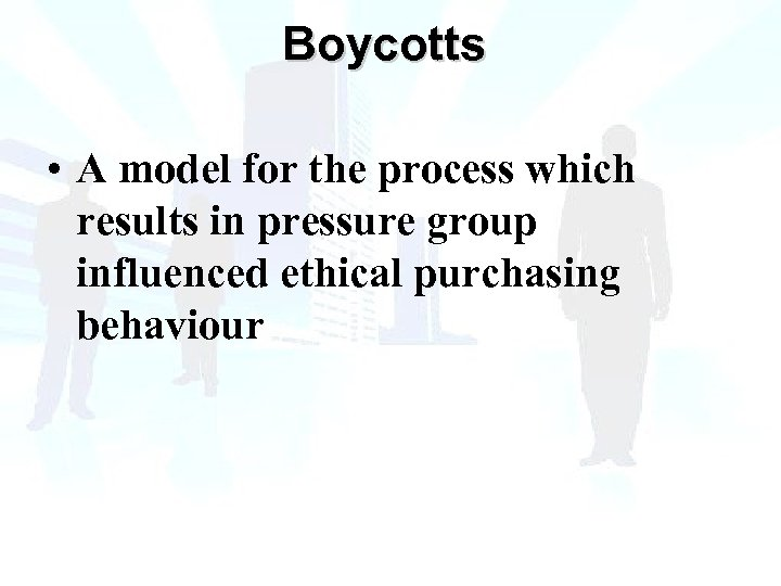 Boycotts • A model for the process which results in pressure group influenced ethical