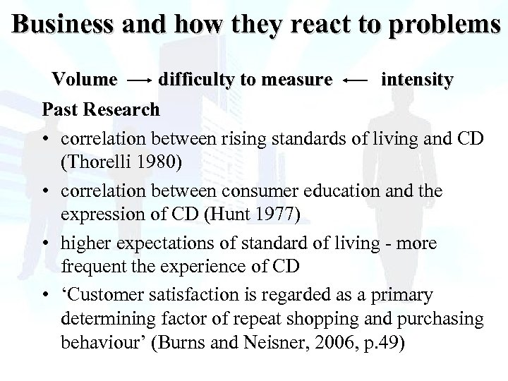 Business and how they react to problems Volume difficulty to measure intensity Past Research