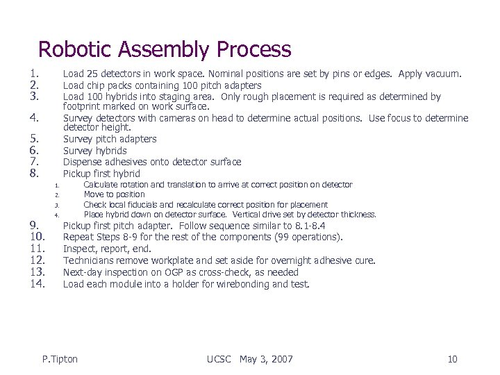 Robotic Assembly Process 1. 2. 3. Load 25 detectors in work space. Nominal positions