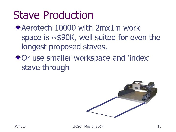Stave Production Aerotech 10000 with 2 mx 1 m work space is ~$90 K,