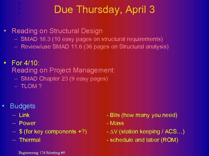 Due Thursday, April 3 • Reading on Structural Design – SMAD 18. 3 (10