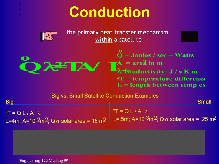 Conduction the primary heat transfer mechanism within a satellite Engineering 176 Meeting #9