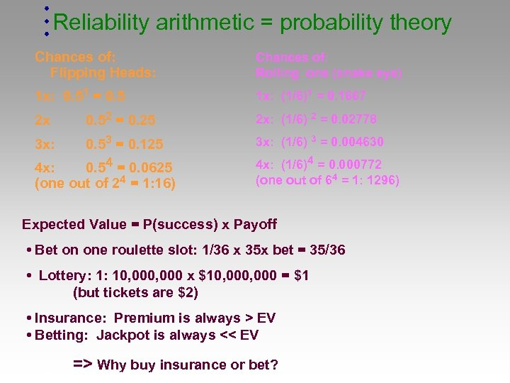 Reliability arithmetic = probability theory Chances of: Flipping Heads: Chances of: Rolling one (snake