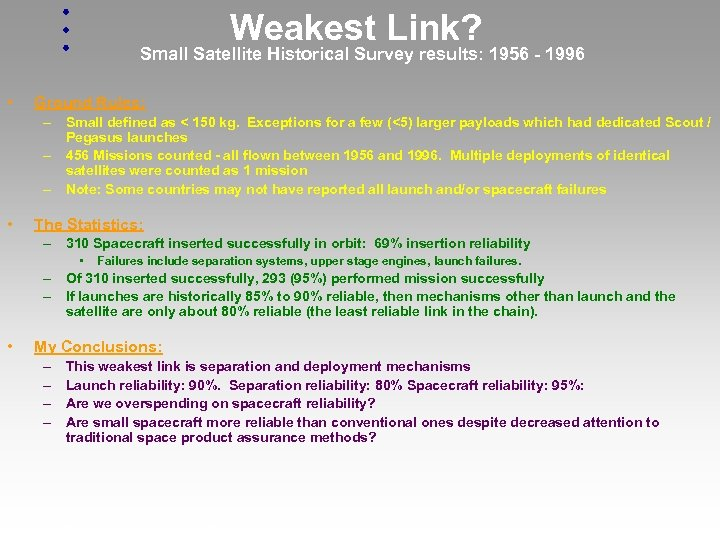 Weakest Link? Small Satellite Historical Survey results: 1956 - 1996 • Ground Rules: –