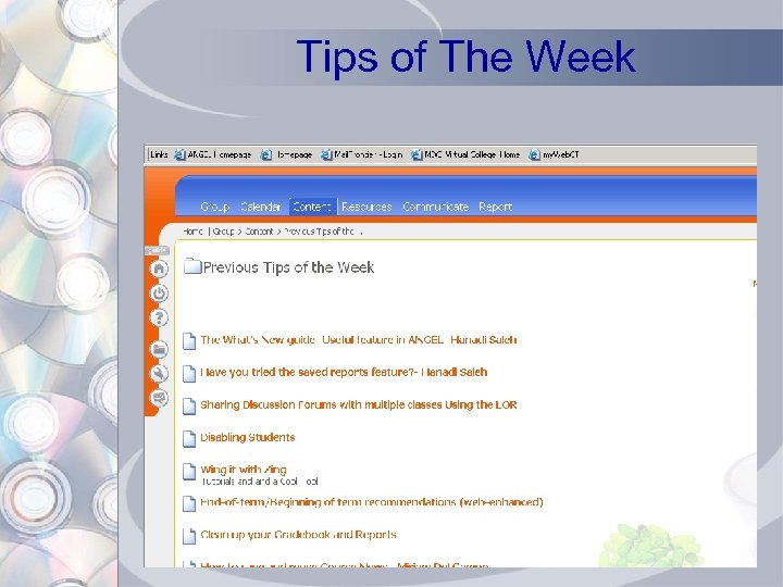 Tips of The Week