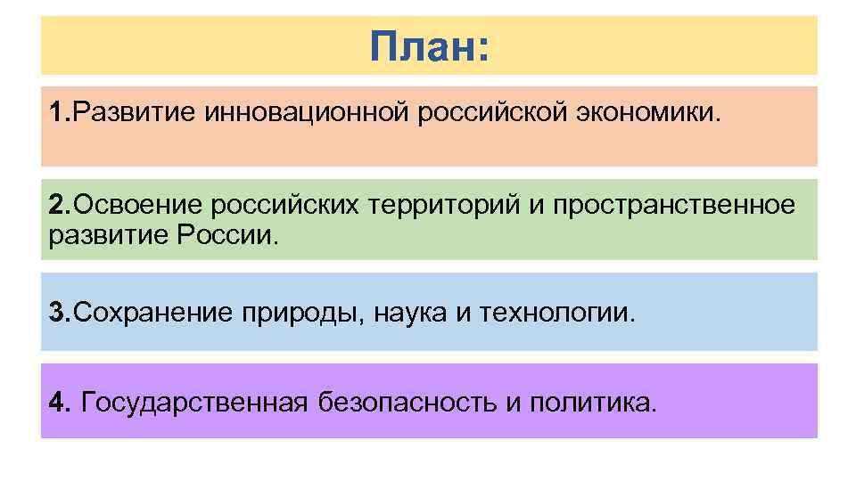 План: 1. Развитие инновационной российской экономики. 2. Освоение российских территорий и пространственное развитие России.