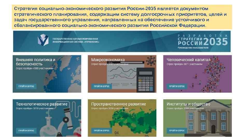 Стратегия социально-экономического развития России-2035 является документом стратегического планирования, содержащим систему долгосрочных приоритетов, целей и