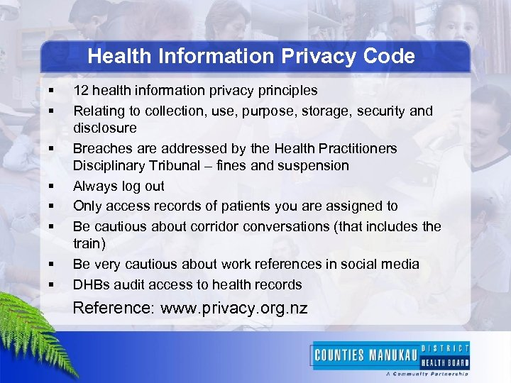 Health Information Privacy Code § § § § 12 health information privacy principles Relating