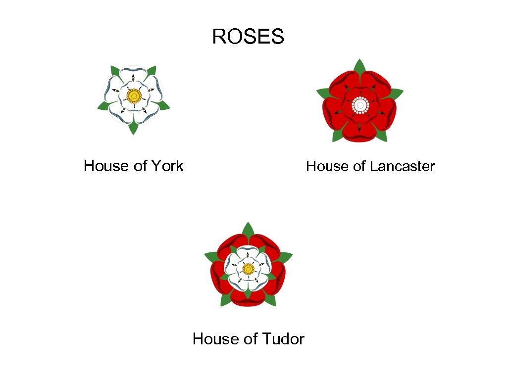 ROSES House of York House of Lancaster House of Tudor