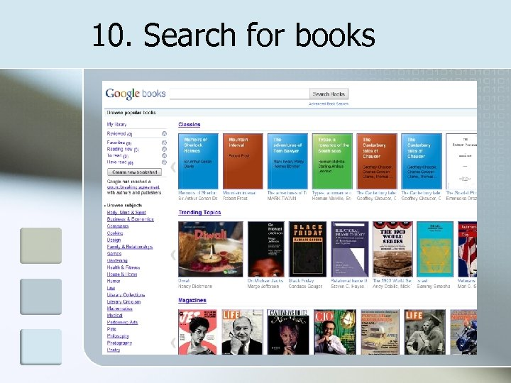 10. Search for books