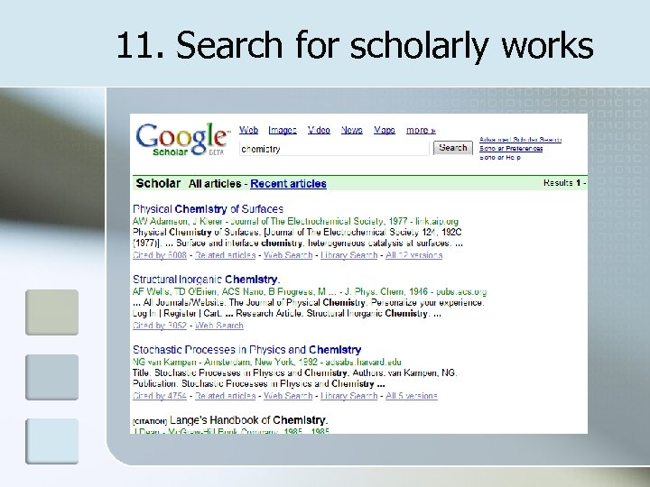 11. Search for scholarly works