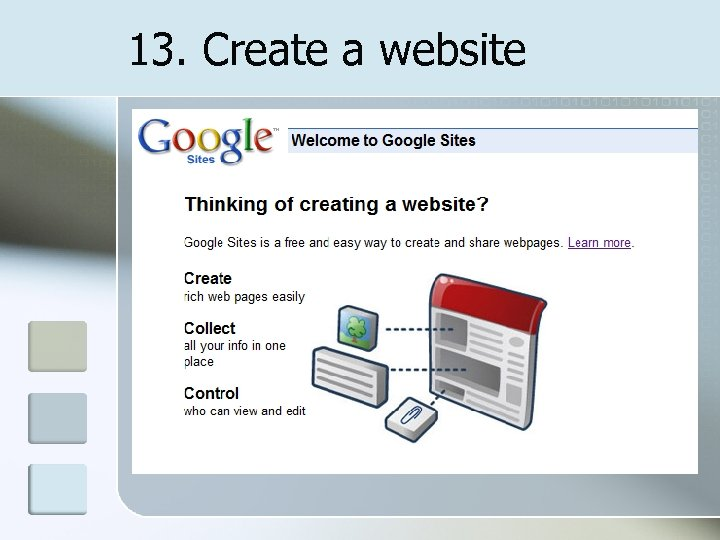 13. Create a website