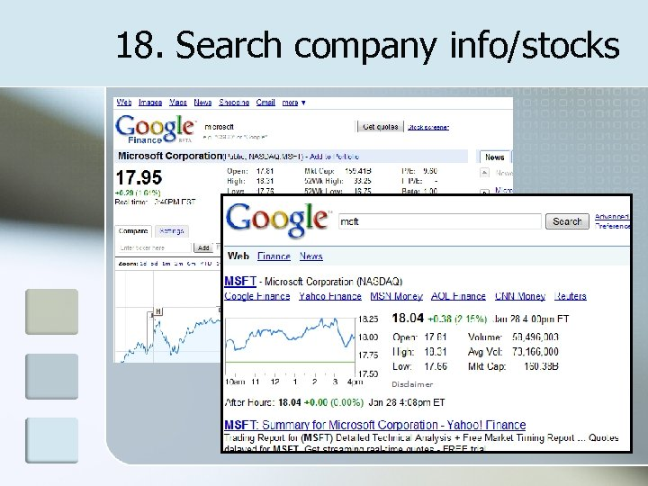 18. Search company info/stocks