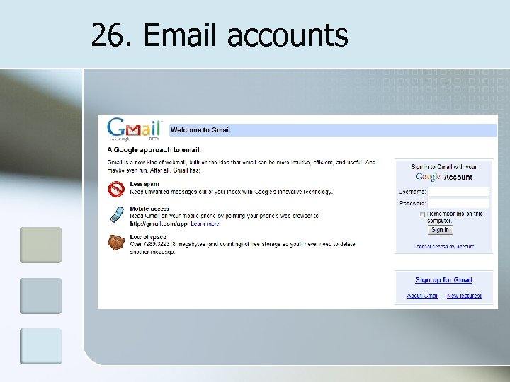 26. Email accounts