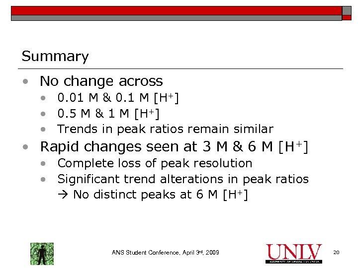 Summary • No change across • 0. 01 M & 0. 1 M [H+]