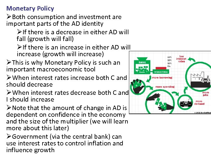 Monetary Policy ØBoth consumption and investment are important parts of the AD identity ØIf