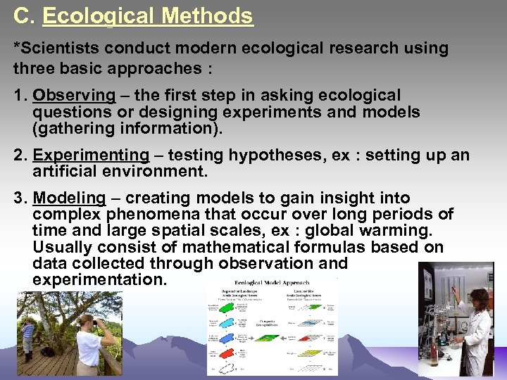 C. Ecological Methods *Scientists conduct modern ecological research using three basic approaches : 1.
