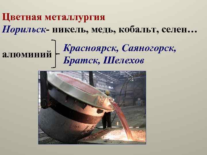 Цветная металлургия Норильск- никель, медь, кобальт, селен… алюминий Красноярск, Саяногорск, Братск, Шелехов
