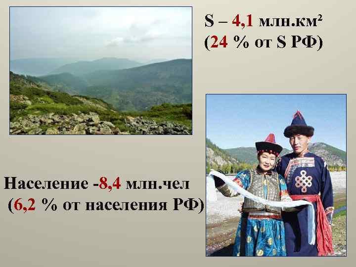 S – 4, 1 млн. км² (24 % от S РФ) Население -8, 4