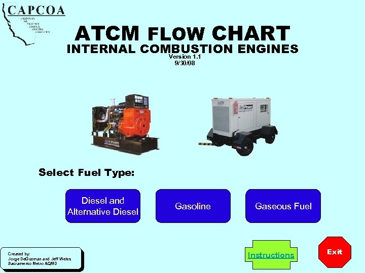 ATCM FLOW CHART INTERNAL COMBUSTION ENGINES Version 1. 1 9/30/08 Select Fuel Type: Diesel