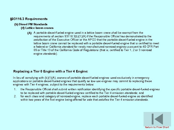 § 93116. 3 Requirements (b) Diesel PM Standards (4) Lattice boom cranes (A) A