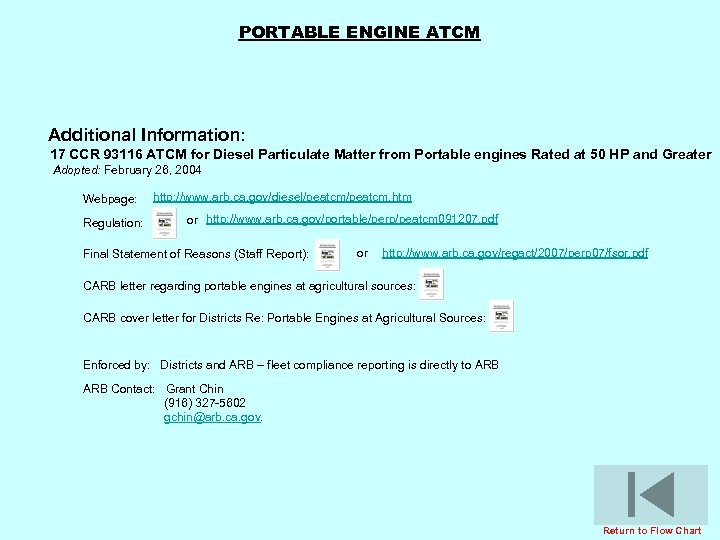 PORTABLE ENGINE ATCM Additional Information: 17 CCR 93116 ATCM for Diesel Particulate Matter from