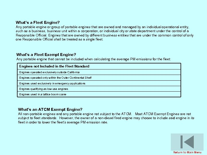 What's a Fleet Engine? Any portable engine or group of portable engines that are