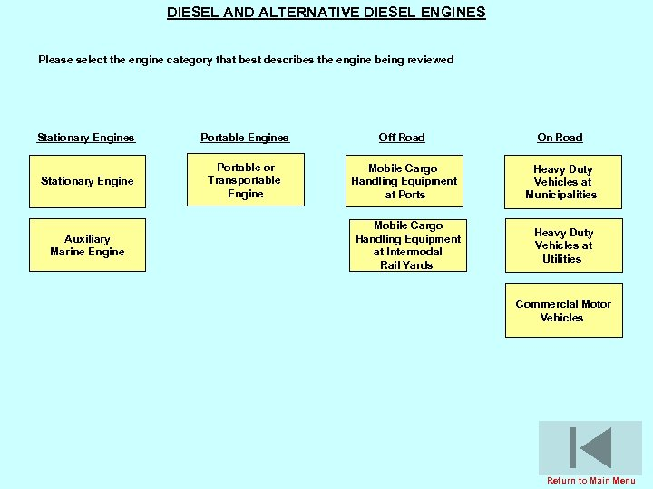DIESEL AND ALTERNATIVE DIESEL ENGINES Please select the engine category that best describes the