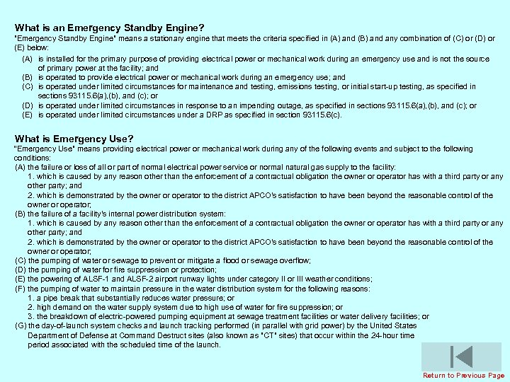 What is an Emergency Standby Engine?
