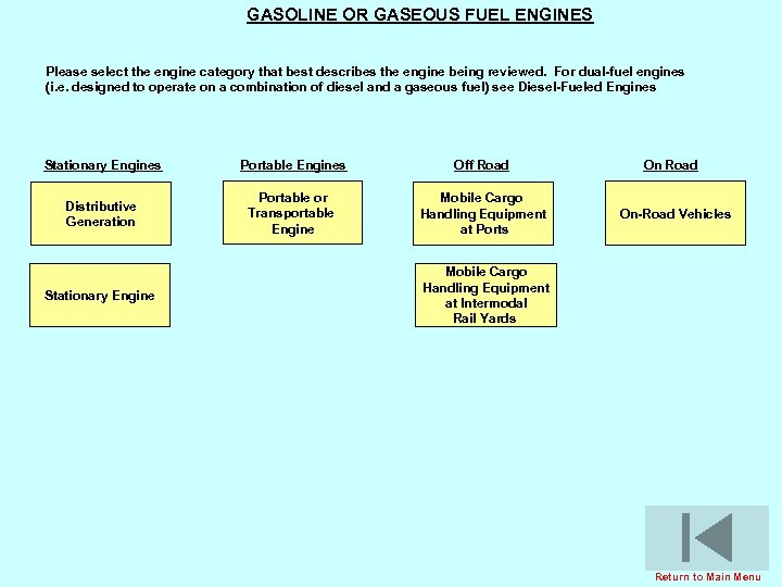 GASOLINE OR GASEOUS FUEL ENGINES Please select the engine category that best describes the