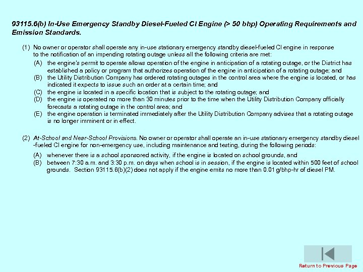 93115. 6(b) In-Use Emergency Standby Diesel-Fueled Cl Engine (> 50 bhp) Operating Requirements and