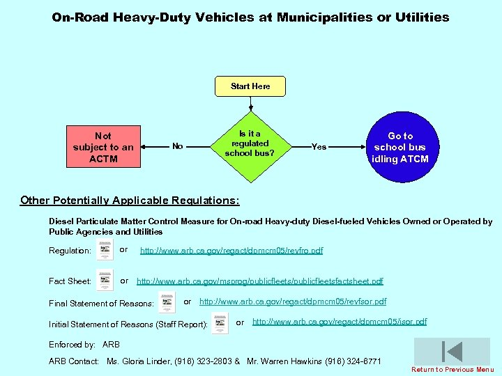 On-Road Heavy-Duty Vehicles at Municipalities or Utilities Start Here Not subject to an ACTM