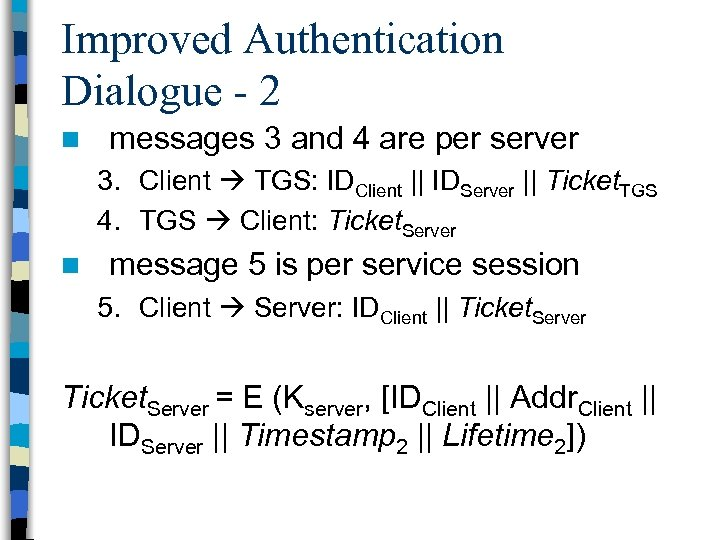 Improved Authentication Dialogue - 2 n messages 3 and 4 are per server 3.