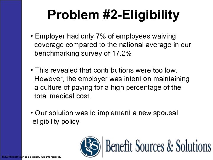 Problem #2 -Eligibility • Employer had only 7% of employees waiving coverage compared to