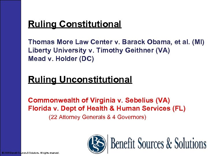 Ruling Constitutional Thomas More Law Center v. Barack Obama, et al. (MI) Liberty University