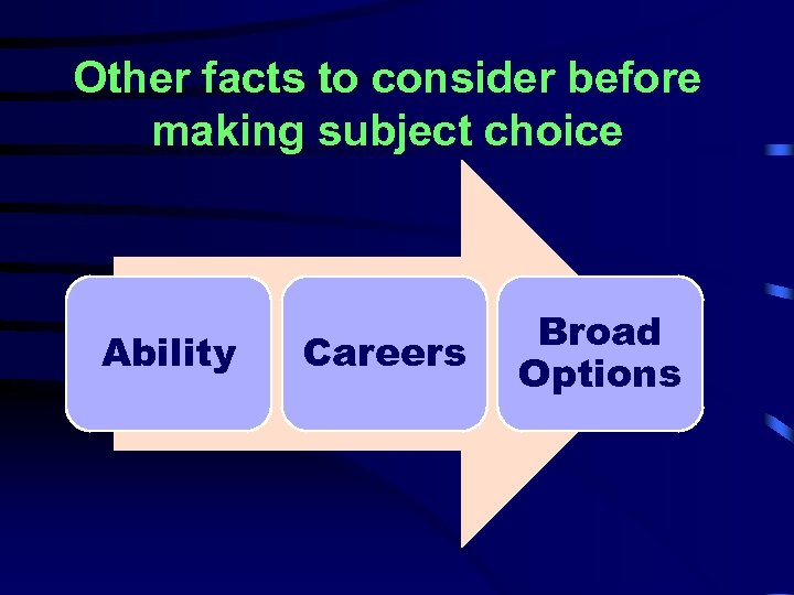 Other facts to consider before making subject choice Ability Careers Broad Options
