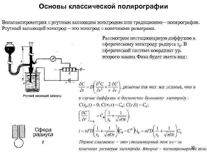 Основы классической полярографии Вольтамперометрия с ртутным капающим электродом или традиционно – полярография. Ртутный капающий