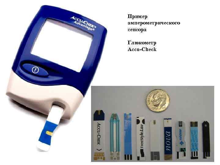Пример амперометрического сенсора Глюкометр Accu-Check