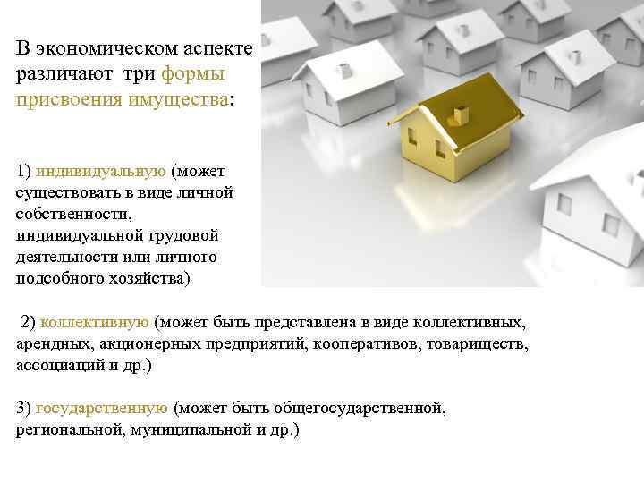В экономическом аспекте различают три формы присвоения имущества: 1) индивидуальную (может существовать в виде