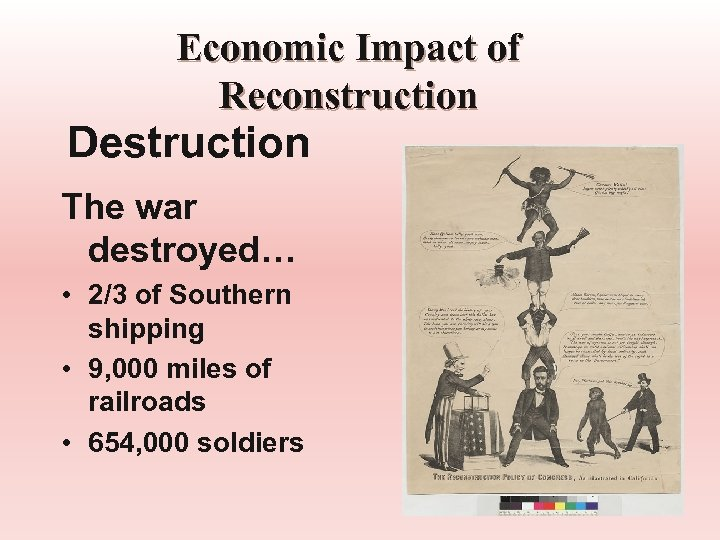 Economic Impact of Reconstruction Destruction The war destroyed… • 2/3 of Southern shipping •