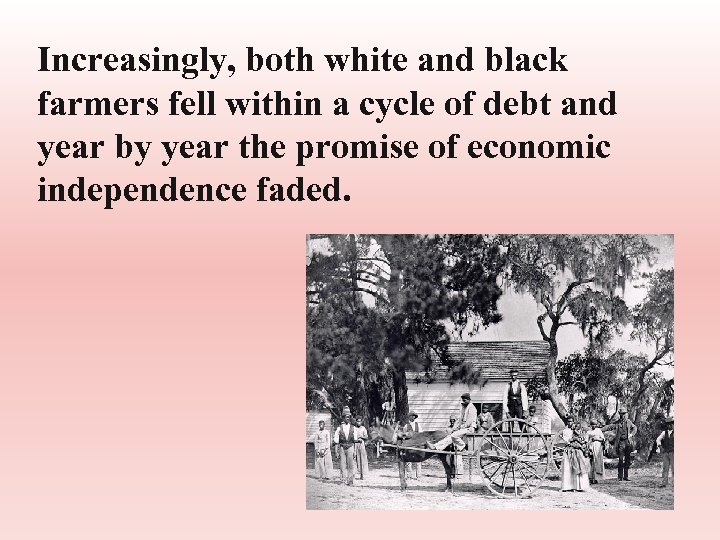Increasingly, both white and black farmers fell within a cycle of debt and year