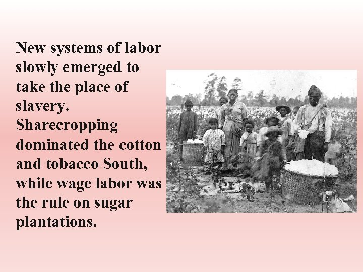 New systems of labor slowly emerged to take the place of slavery. Sharecropping dominated