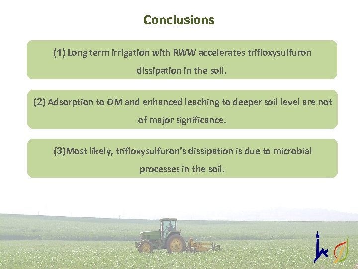 Conclusions (1) Long term irrigation with RWW accelerates trifloxysulfuron dissipation in the soil. (2)
