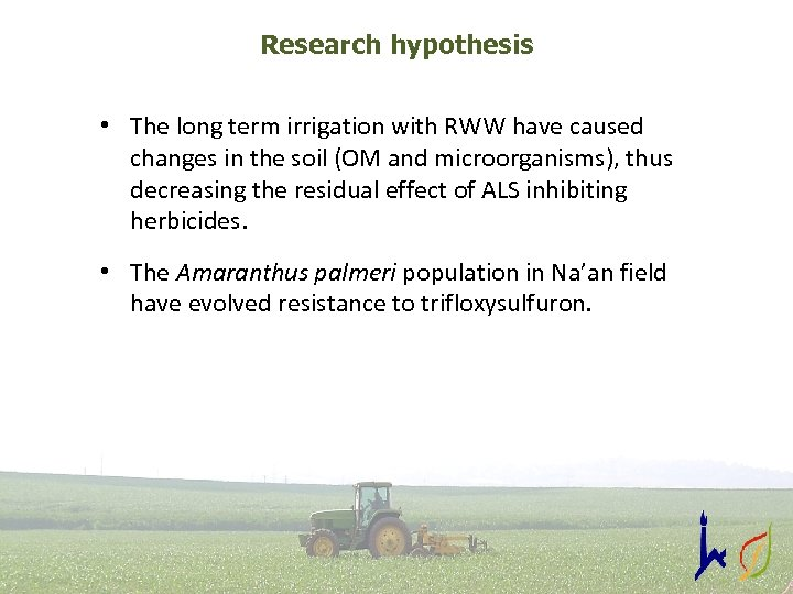 Research hypothesis • The long term irrigation with RWW have caused changes in the