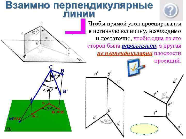 Взаимно перпендикулярные линии Чтобы прямой угол проецировался в истинную величину, необходимо и достаточно, чтобы