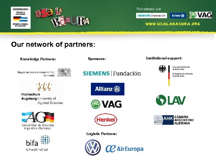 Our network of partners: Knowledge Partners: Sponsors: Logistic Partners: Institutional support: