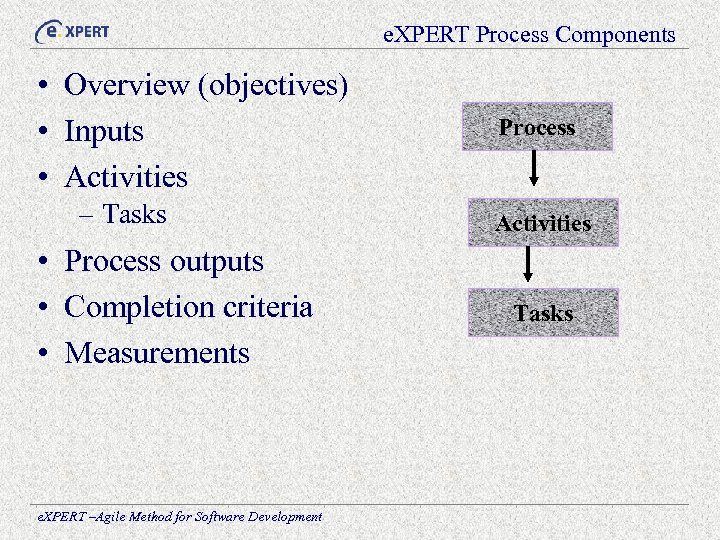 e. XPERT Process Components • Overview (objectives) • Inputs • Activities – Tasks •