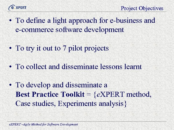 Project Objectives • To define a light approach for e-business and e-commerce software development