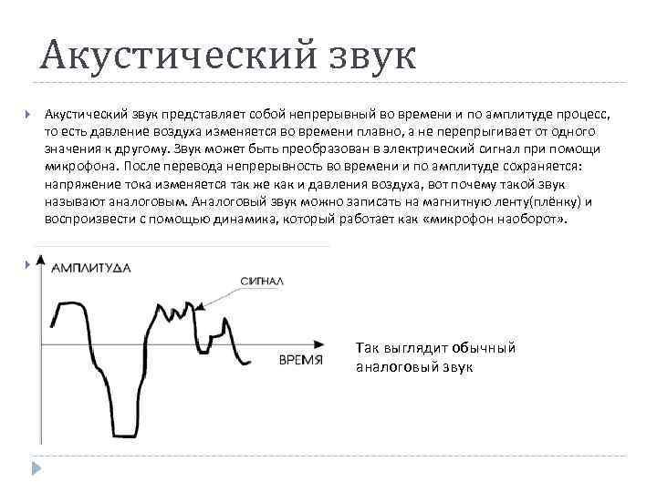 Акустический звук представляет собой непрерывный во времени и по амплитуде процесс, то есть давление