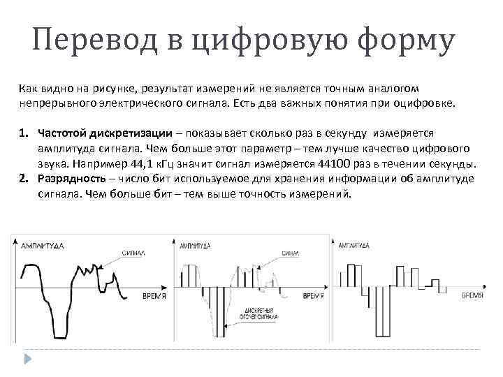 Перевод в цифровую форму Как видно на рисунке, результат измерений не является точным аналогом